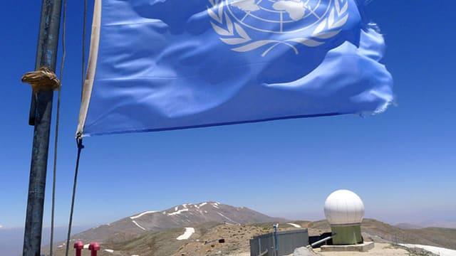 UNO-Flagge auf den Golanhöhen.