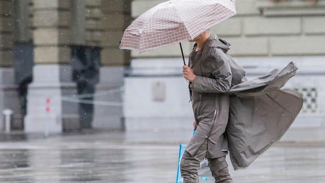 Frau auf dem Bundesplatz mit Schirm