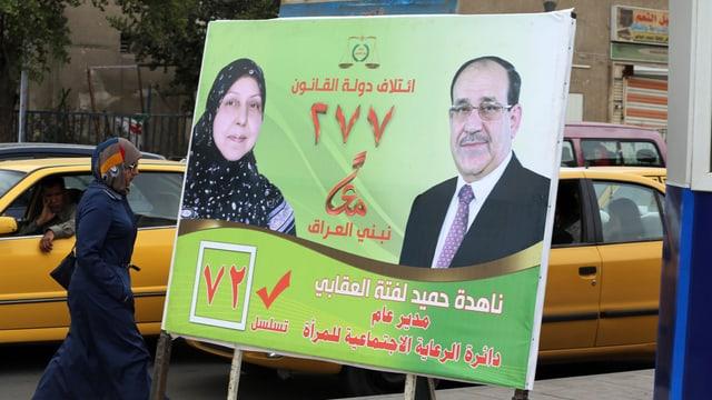 Plakat mit Maliki und einer Frau.