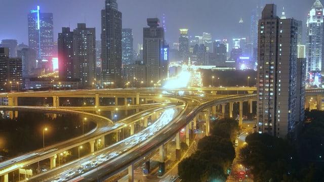 Shanghai Nacht Autobahn