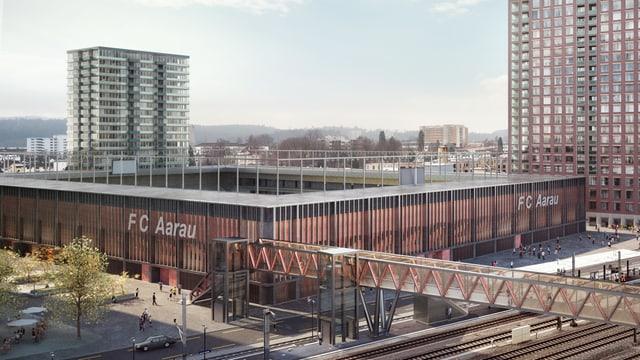 Visualisierung des geplanten Fussballstadions