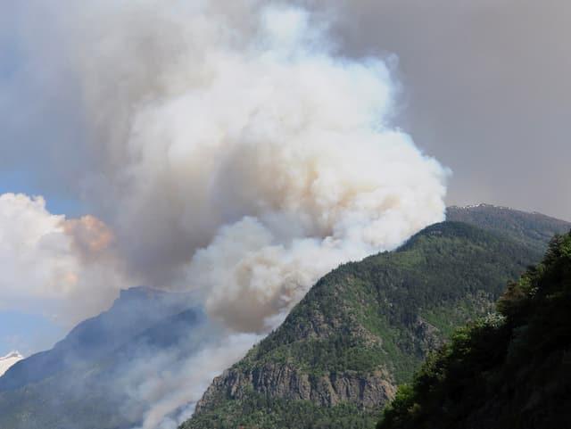 In der Nähe von Visp  steigt viel Rauch aus dem Wald, Waldbrand vom 26. April 2011.