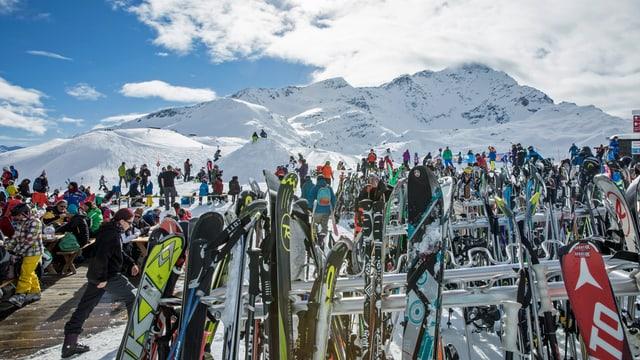 Viele Skis auf Skiständer vor Bergpanorama