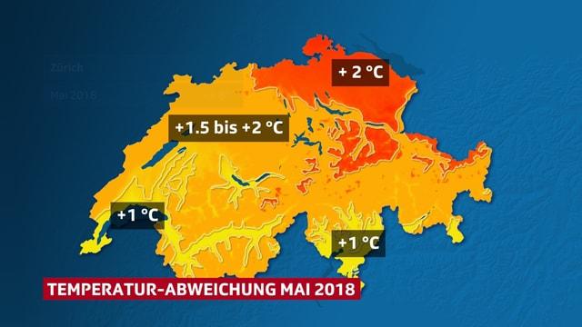 Schweizkarte: farbig dargestellt die Temperaturabweichung gegenüber den längjährigen Beobachtungen.