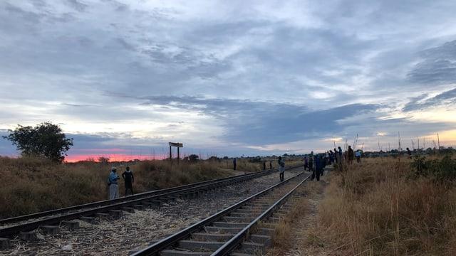 """Blick über die Gleise zur """"Station"""" in der Morgendämmerung."""