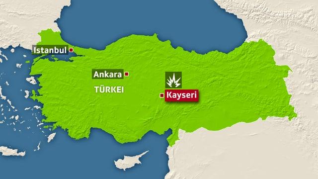 Anschlagsort Kayseri in der Zentraltürkei