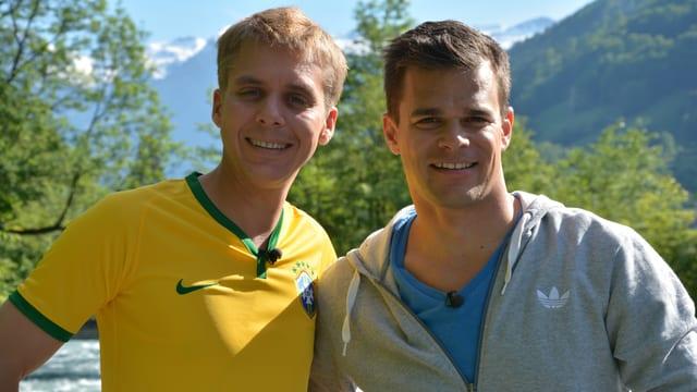 Reto Scherrer und Patrick Küng vor der Wettaufgabe...