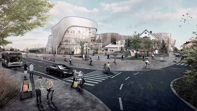 Visualisierung des Einkaufszentrums «Dreiländergalerie» in Weil am Rhein.