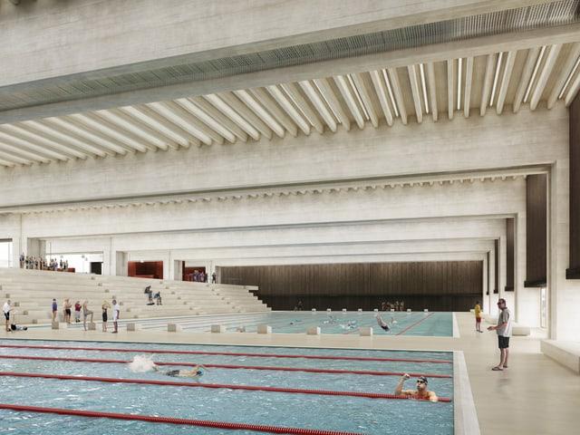 Eine grosse Schwimmhalle aus Beton.