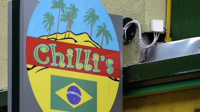 Ein Schild, darauf Palmen, eine Brasilien-Fahne und Palmen