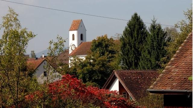 Dächer und Kirchturm von Rothenfluh