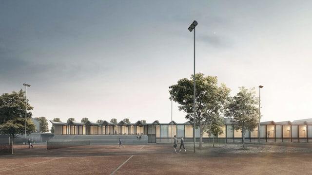 Computerbild Tennisplätze und Neubau im Hintergrund.