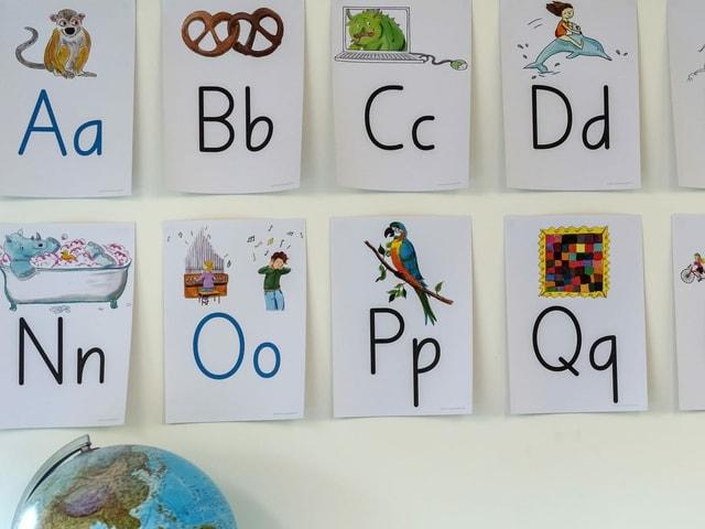 Tafeln mit Gross- und Kleinbuchstaben für die Primarschule.