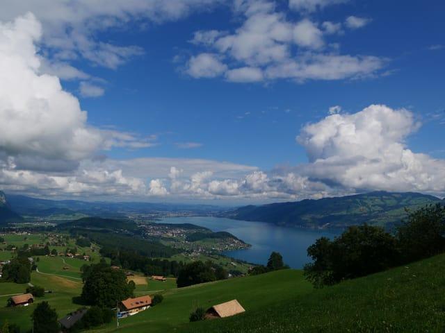 Von einem grünen Hang sieht man hinunter auf den blauen Thunersee und das Mittelland dahinter. Der Himmel ist blau mit Wolken am Himmel.