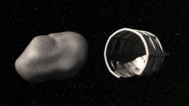 Computerillustration: Raumschiff neben einem Asteroiden