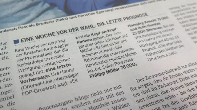 """Artikel in der """"Schweiz am Sonntag"""""""