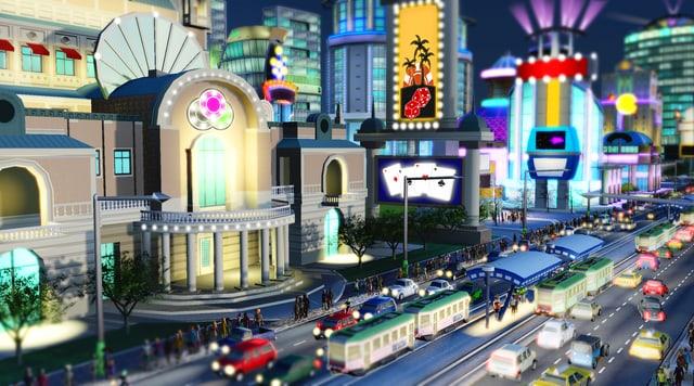 Ein Screenshot des Games «SimCity» zeigt eine Casino-Stadt.