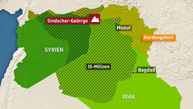 Karte der umkämpften Gebiete im Nordirak