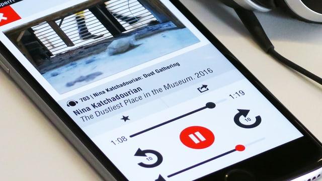 Handy, auf dem der Audioguide des MoMA zu sehen ist. Text: «Nina Katchadourian: The Dustiest Place in the Museum»
