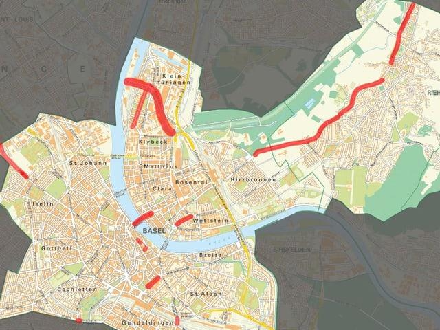 Karte von Basel. Abschnitte, wo Arbeiten an Trangeleisen anstehen, sind rot eingefärbt.