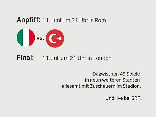 Bei der EM 2021 finden 49 Spiele zwischen dem Anpfiff am 11. Juni und dem Final am 11. Juli statt.