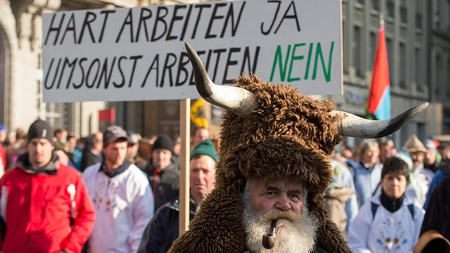 Purs demonstreschan a Berna. November 2015.