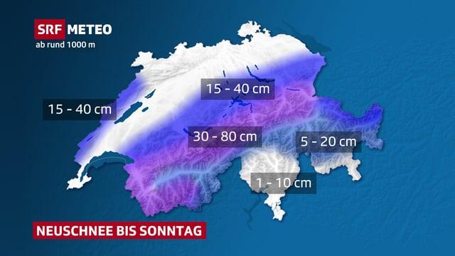 Schweizer Karte mit Neuschneemengen bis Sonntag