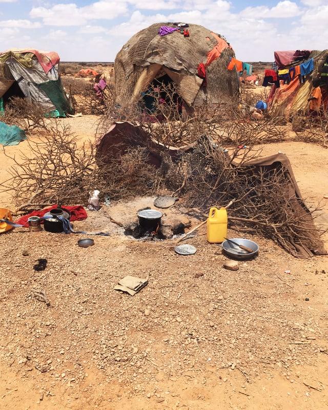 Eine provisorische Hütte in Somalia.