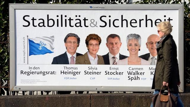 Wahlplakat mit den 5 bürgerlichen KandidatInnen