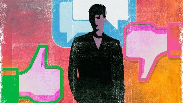 Eine Illustration eines Mannes, umgeben von Daumen, die nach oben und unten zeigen.