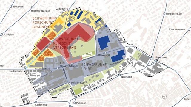 Plan mit den künftigen Nutzungsschwerpunkten im Zürcher Hochschulquartier