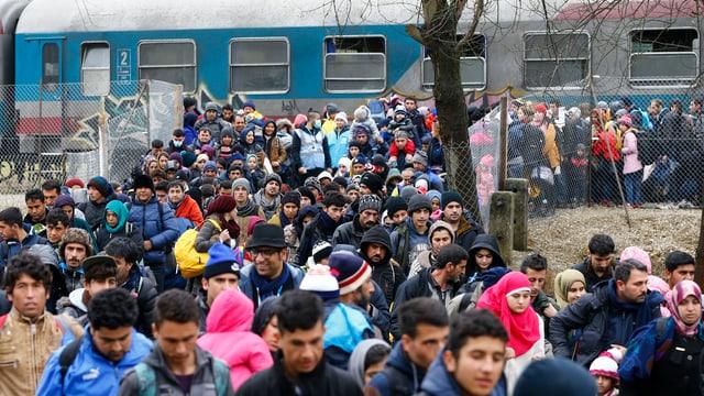Flüchtlinge verlassen in Scharen einen Zug beim Flüchtlingslager in Sentilj in Slowenien an der Grenze zu Österreich.