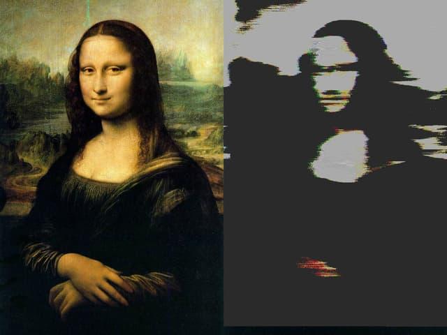 Zweimal die Mona Lisa, einmal im Original und einmal mit Bildstörungen.