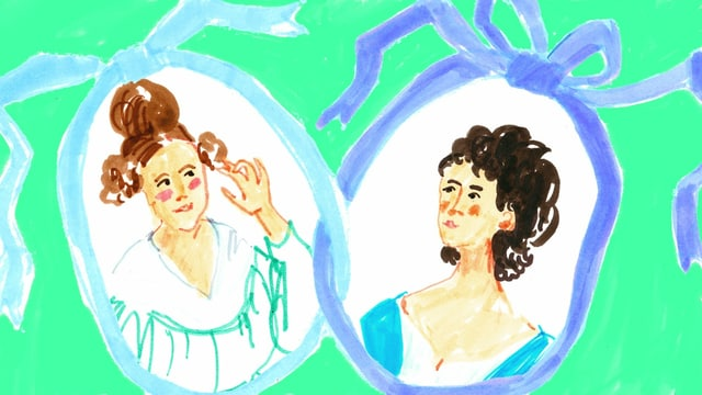 eine Zeichnung von zwei Frauen-Porträts