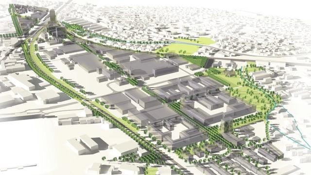 Visualisierung der Stadt des wachsenden Quartiers Neuhegi-Grüze