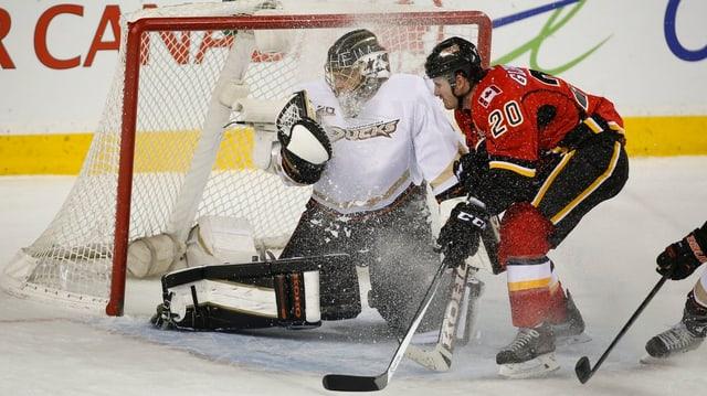 Jonas Hiller im Einsatz gegen die Calgary Flames.