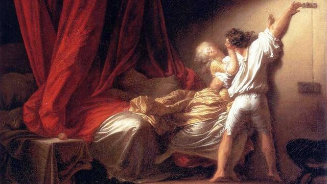 Barocke Szene: Mann hält Frau in einem Arm. Mit der freien Hand schliesst er die Zimmertüre.