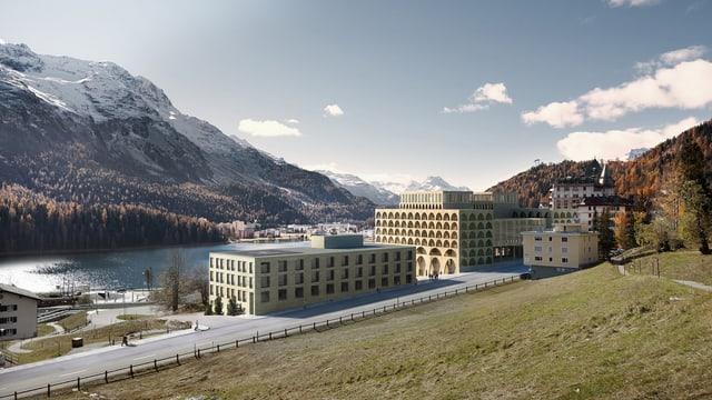 Der St. Moritzersee mit einer Visualisierung des neuen Gesundheitshotels.
