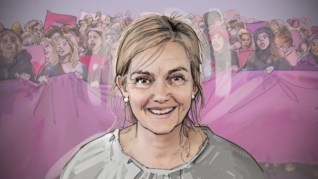Porträt-Illustration: eine Frau, im Hintergrund sind streikende Frauen.