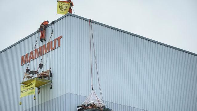 """Ein Mann seilt sich vor dem Schriftszug Mammut von einem Gebäude ab. Ein weiterer hält eine gelbe Protestflagge mit der Aufschrift """"be a leader detox now""""."""