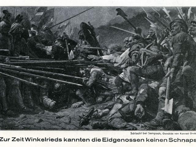 Die Schlacht bei Sempach auf einer Postkarte von 1929, darauf die Aufschrift: «Zur Zeit Winkelrieds kannten die Eidgenossen keinen Schnaps»