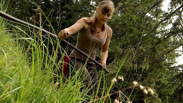 Julia beim Wildheuen