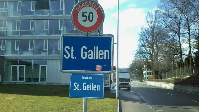 Strassentafel St. Geilen statt St. Gallen