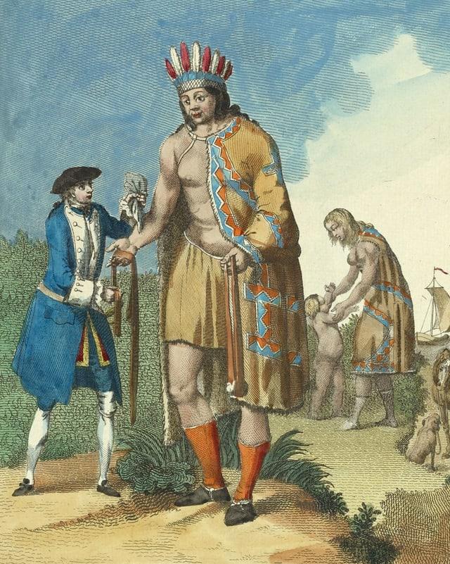 Abbildung eines indianischen Riesen, der neben einem kleinen, blau gekleideten Europäer steht.