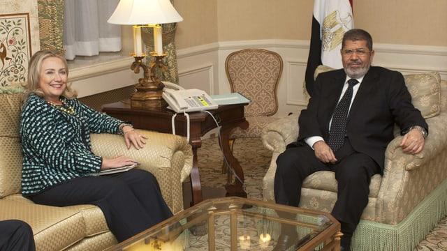 US-Aussenministerin Hillary Clinton und Ägyptens Präsident Mohammed Mursi.
