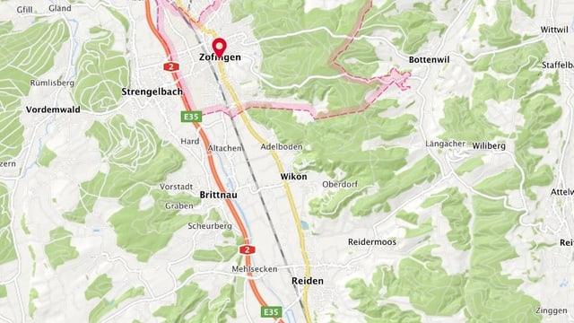 Kartenausschnitt Zofingen-Reiden