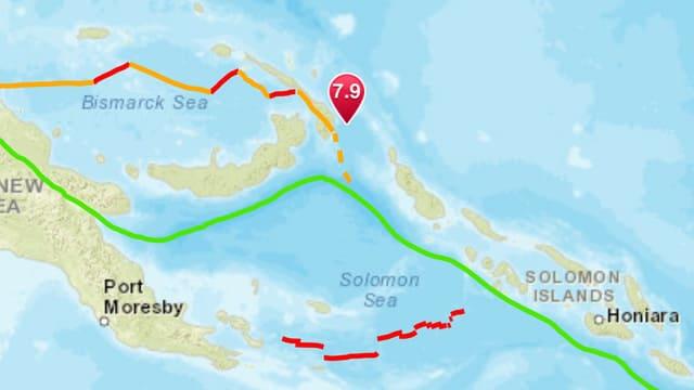 Il terratrembel è vegnì registrà circa 100 kilometers davant la costa da Papua Nova Guinea.
