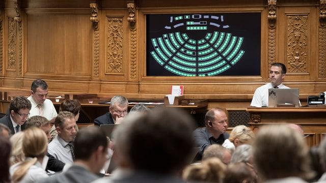 Sala dal Cussegl naziunal cun in resultat da votaziun.