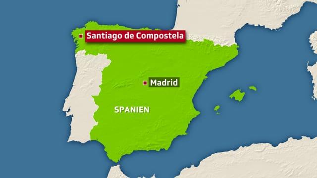 Karte von Spanien.