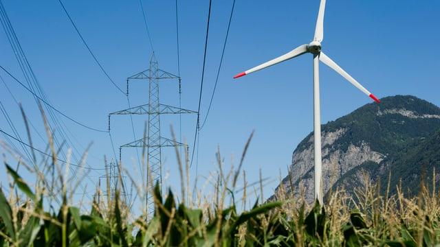 Eine Hochspannungsleitung und eine Windturbine in der Natur